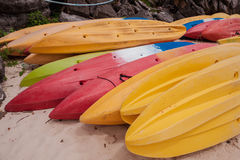 Colorful kayaks on beach in Thailand Royalty Free Stock Photo