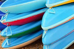 Colorful kayaks Stock Images