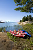 Colorful Kayaks by the Lake Royalty Free Stock Image