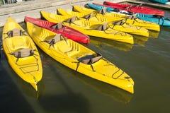 Colorful kayaks Stock Photography