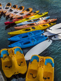 Colorful kayaks and paddle boats Stock Image