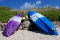 Colorful Kayaks. A pair of Kayaks on Scilly Isles, UK Royalty Free Stock Photo