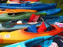 Colorful Kayaks at Pigg River Ramble Royalty Free Stock Image
