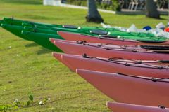 Colorful Kayaks for rent Royalty Free Stock Images