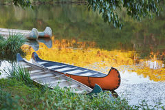 Colorful Kayaks on the river. Stock Photo