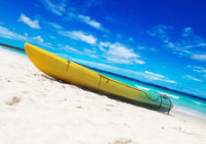 Colorful kayaks on the tropical beach Stock Image