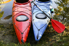 Colorful kayaks on the tropical beach. Royalty Free Stock Images