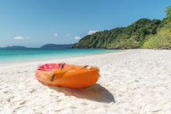 Colorful kayaks on the tropical beach in Phuket, Thailand. Summe Royalty Free Stock Photo