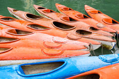 Colorful Kayaks in the Waters of Halong Bay, Vietnam Royalty Free Stock Images