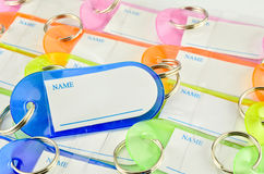 Colorful key chain with space for text Royalty Free Stock Images