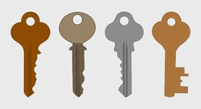 Colorful key icon set. On gray background Royalty Free Stock Images