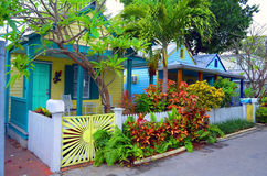 Colorful Key West Cottages. A row of three small and very colorful wooden bungalows in the old town section of Key West,Florida Stock Photography