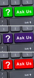 Colorful keyboard buttons with ask us text Royalty Free Stock Photo