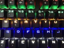 Colorful keyboard for gamers royalty free stock photos