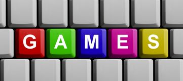 Colorful Keyboard: Games. Colorful Computer Keyboard showing Games Royalty Free Stock Photography