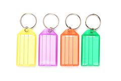 Colorful keyring tags Stock Photography