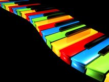 Colorful Keys. An illustration of colorful piano keys in a wavy pattern, on black background Royalty Free Stock Images