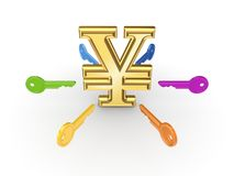 Colorful keys around yen symbol. Stock Images