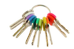 Colorful keys on white background Royalty Free Stock Photography