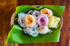 Colorful Khanom Chin. Khanom Chin Are Rice Noodles in Thai Cuisine Which Are Made From Rice Royalty Free Stock Photography