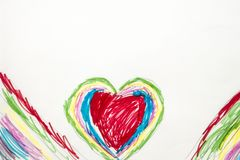 Colorful kid`s drawing of colorful heart Stock Photo