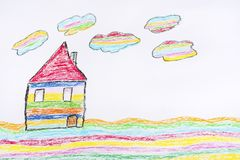 Oil Pastel Childlike Drawing House. Colorful Kid`s Hand Drawn House with Tree stock photos