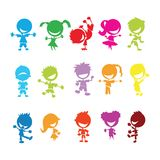 Colorful kids. Drawing of isolated colorful kids on white background Stock Images