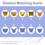 Kids animal learning game, find the correct shadow. Colorful kids animal learning game, find the correct shadow - vector illustration Royalty Free Stock Images