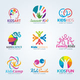 Colorful Kids art logo vector set design Royalty Free Stock Image