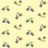 Colorful kids balance bike seamless pattern, bike texture Royalty Free Stock Photos