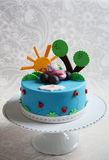 Colorful kids birthday cake Stock Image