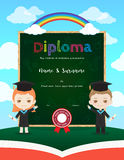 Colorful kids diploma certificate template in cartoon style and Stock Photo