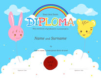 Colorful kids diploma certificate template in cartoon style Royalty Free Stock Photos