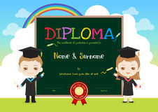 Colorful kids diploma certificate template in cartoon style with Royalty Free Stock Photo