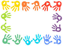 Colorful kids handprint frame vector background Royalty Free Stock Photos