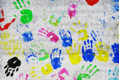 Colorful kids handprints Royalty Free Stock Photography