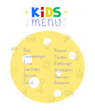 Colorful kids meal menu design vector template Stock Photography