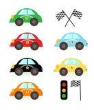 Colorful kids race car vector illustration. Background stock illustration