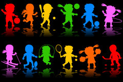 Colorful Kids Silhouettes [1]. Two colorful banners with happy kids silhouettes playing different sports. Eps file available Stock Image
