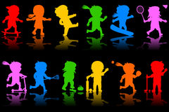 Colorful Kids Silhouettes [2]. Two colorful banners with happy kids silhouettes playing different sports. Eps file available Stock Image