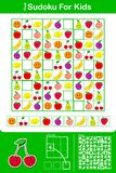 Colorful kids sudoku puzzle grid with nine fruit Royalty Free Stock Photography