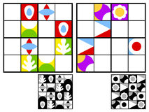 Colorful kids sudoku puzzle. With multicolored geometric patterns in the squares in the grid for mental stimulation and entertainment with two variations and Royalty Free Stock Photography