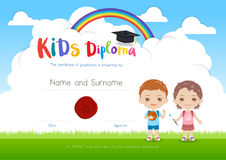 Colorful kids summer camp diploma certificate template in cartoon style with boy girl and sky rainbow stock illustration
