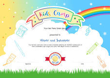 Colorful kids summer camp diploma certificate template in cartoon style with sky rainbow and kids elements in the background stock illustration