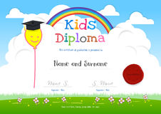Colorful kids summer camp diploma certificate template in cartoo. N style with smiling yellow balloon on rainbow and sky Royalty Free Stock Photography
