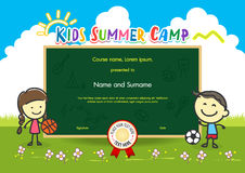 Colorful kids summer camp diploma certificate template in cartoon. Style with boy girl and sky rainbow Stock Image