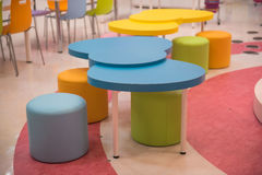 Colorful Kids Table and chairs for little kids. Royalty Free Stock Photography