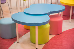 Colorful Kids Table and chairs for little kids. Royalty Free Stock Image