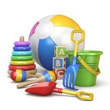 Colorful kids toys concept 3D royalty free illustration