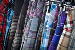 Colorful Kilts. Kilts on a Hanger for Sale stock image
